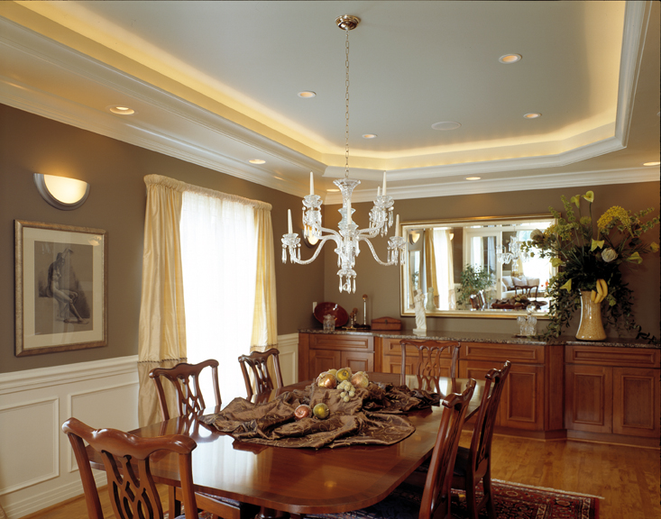 dining room layers of light ceiling tray lighting