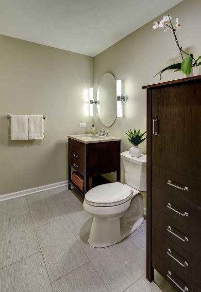 Transitional Transformation in Western Springs Powder Room